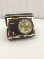 Vintage Linden Travel Alarm Clock in Case Lighted Dial Glowing Hands Loud Ticker