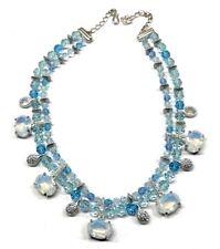 Vintage Blue Opal Clear Rhinestone Swarovski Signed Runway Statement Necklace