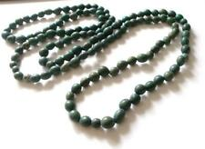 VINTAGE 1950's GREEN SEEDS / PIPS OR WOODEN BEADS LONG BEADED NECKLACE