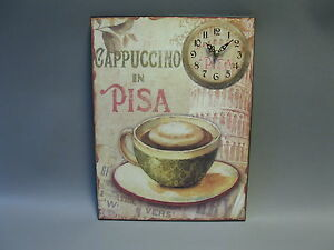 Große Wanduhr aus Blech  40 cm x 20 cm  Nostalgie Uhr Antikstil  Pisa Cappucino