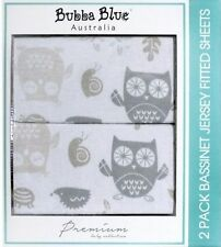 Mod The Owl 2 PK Jersey Bassinet Fitted Sheets by Bubba Blue