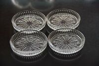 Mid century, clear, glass coasters with snowflake design