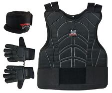 Maddog Full Finger Glove Padded Chest Protector and Neck Combo Trio Black Lxl