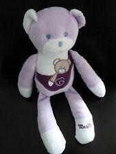 D6- DOUDOU OURS  MUSTI MUSTELA  BEBE mauve violet blanc 28 cms -  TBE