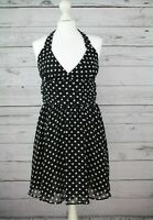 ~~TOP SHOP BLACK/WHITE POLKA DOT HALTERNECK SKATER DRESS UK 10