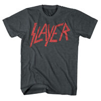 SLAYER Logo Distressed Vintage Gray T-Shirt New Authentic