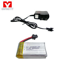 7.4V Battery Charger + 650mAh 25C Battery For JJRC H8C H8D /DFD F182 F183 Drone