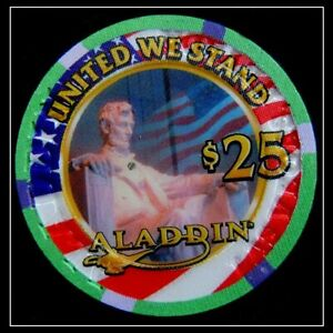 "HARD TO FIND / Aladdin Casino ""United We Stand"" $25.00 Chip / Las Vegas"