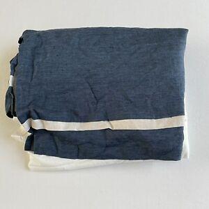 "Pottery Barn Basic Belgian Flax Linen Contrast Flange bed skirt King 14"" Blue"