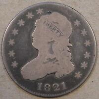1821 Capped Bust Quarter G-VG