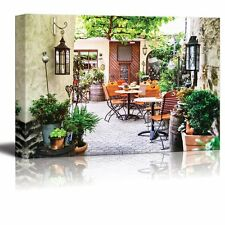 """Canvas Prints - Cafe Terrace in Small European City for Cafe Decor - 24"""" x 36"""""""