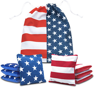 Professional Cornhole Bags Bean Double Sided Weather Resistant Carry Tote 8 Pcs
