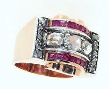 French Art Deco / Retro 18K Gold Ruby Diamond Ring, Impressive and Heavy 15.93g