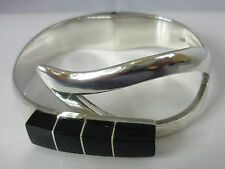 Stunning Heavy Vintage Onyx Sterling Silver Mexican Designer Bangle By TA-150