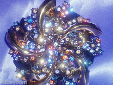 Exquisite JOAN RIVERS AB Blue & Gold Crystal Star Pin Brooch