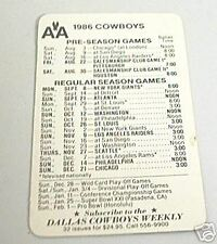 1986 DALLAS COWBOYS FOOTBALL POCKET SCHEDULE