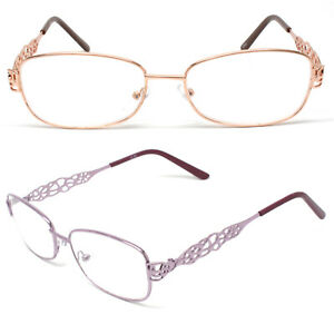 Woman Metal Frame Clear Lens Reading Vision Glasses