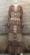 Mossimo XXL Chiffon Maxi Dress Boho Tribal Floral Long Sleeve Pockets Tassels