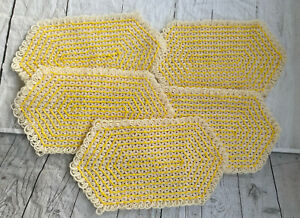 Vintage Crocheted Floral Placemats Yellow And White Lot Of 5