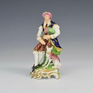 "Antique Bloor Derby Porcelain Figure Shepherd ""Sitting Piper"" No. 301"