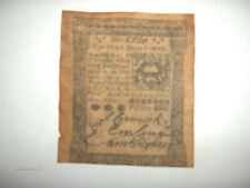 Confederate currency Pennsylvania, dated Oct. 1, 1773, printed by Hall & Sellers