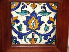 OLD MEXICAN TALAVERA TILE IN HEAVY WOOD FRAME