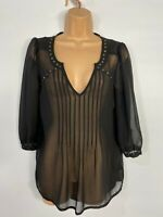 BNWT WOMENS NEXT BLACK STUD DETAIL CHIFFON SHIRT BLOUSE SMART CASUAL TOP UK 10