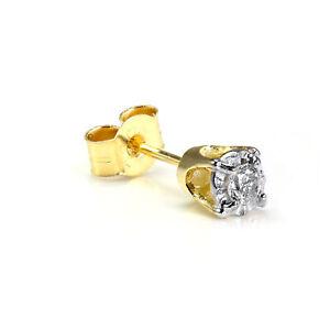9ct Gold 0.05ct Diamond Square Mens Ear Stud Earring / Single