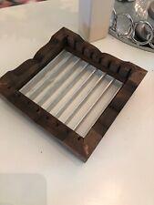 Vintage Mid Century Modern Dish Rack Plate Dryer Countertop Dryer Wood & Metal