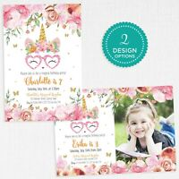 Unicorn Invitation Personalised Photo Birthday Party Confetti Invite - JPEG PDF