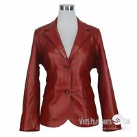 Leather Blazer Jacket for Women Soft Lamb Bright Ladies Waist All Season Color