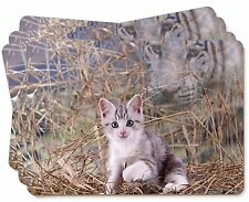 Kitten and White Tiger Watch Picture Placemats in Gift Box, AC-76P