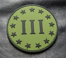 Three 3% Percenter Logo 3 INCH PVC Rubber Morale Hook PVC Patch