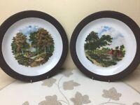 Hornsea Lancaster Vitramic 2 x Decorative Plates Country Scenes Perfect 25cm