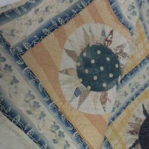 Pre Civil War Antique Mariners Compass QUILT 87x73 Study/Fold Too Old To Cut!
