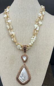 Barse La Perla Necklace- Mother of Pearl & Quartz- Copper- NWT