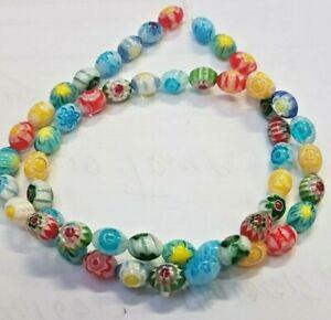 murrine  perle di vetro   multicolor chiaro   OLIVA  6 X8  mm  filo 40 cm