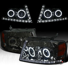 For 2004-2008 Ford F150 F-150 Pickup Smoke Lens LED Halo Headlights Head Lamps