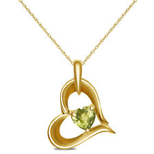 """Ladies Heart Pendant with Peridot in 10k Yellow Gold with Free Complementary 18"""""""