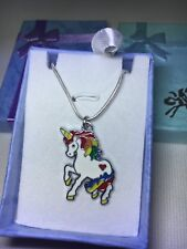 Unicorn Silver Plated Necklace, WHITE ENAMEL UNICORN With Free Gift Box