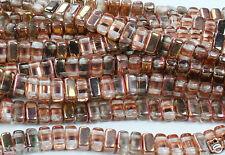 50 CzechMates Two Hole 2-Hole Brick Glass Beads Apollo Gold 3x6mm