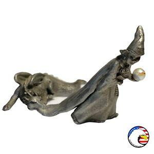 Vintage Wizard w/ Crystal Ball & Dragon Pewter Figurine