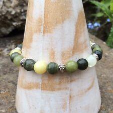Connemara marble Irish stone stretch bracelet. Jewelry gift craft. Silver saucer