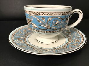 Wedgwood W2714 Turquoise Florentine - New Mark - Leigh Tea Cup & Saucer (A)