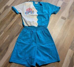 Vintage Teddi Sport 2Pc Set Women's Beach Polyester Pullover Shirt Top Shorts M