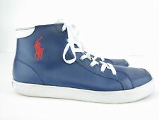 Polo Ralph Lauren men's Blue Leather Lace Up High Tops Sneakers Sz 10.5