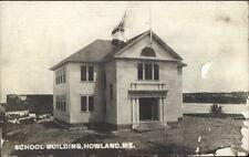 Howland ME School Bldg c1910 Real Photo Postcard