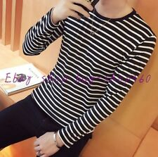 Summer Men's Fashion Round Collor Black White Stripe Long Sleeve Slim T-shirt