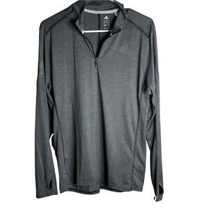 Adidas Men's Long Sleeve Running 1/4 Zip Shirt S Gray Thumbholes Pullover