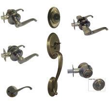 Antique Brass door knobs lever keyed entry privacy passage dummy deadbolt 835